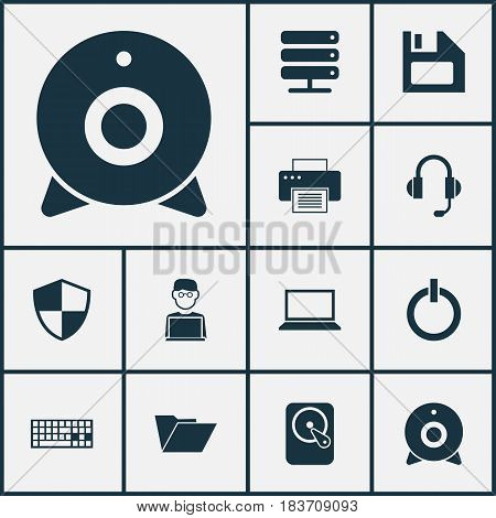 Computer Icons Set. Collection Of Diskette, Broadcast, Laptop And Other Elements. Also Includes Symbols Such As Storage, Keyboard, File.