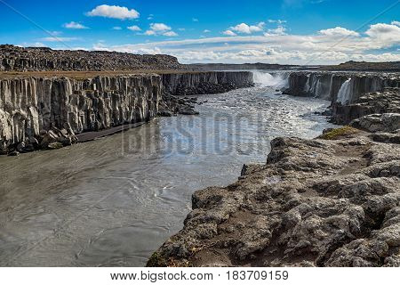 Famous and great Sellfoss waterfall in Iceland