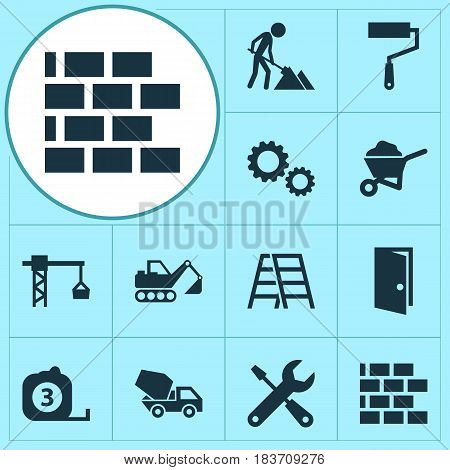 Architecture Icons Set. Collection Of Maintenance, Digger, Service And Other Elements. Also Includes Symbols Such As Brick, Cogwheel, Exit.