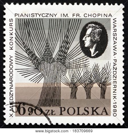 POLAND - CIRCA 1980: a stamp printed in Poland dedicated to Chopin Piano Competition circa 1980