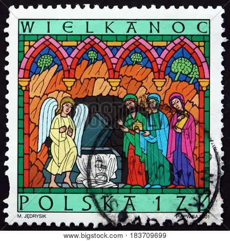 POLAND - CIRCA 2001: a stamp printed in Poland shows Women at Empty Tomb Easter circa 2001
