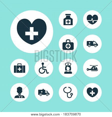 Medicine Icons Set. Collection Of Painkiller, Disabled, First-Aid And Other Elements. Also Includes Symbols Such As Health, Medication, Heartbeat.