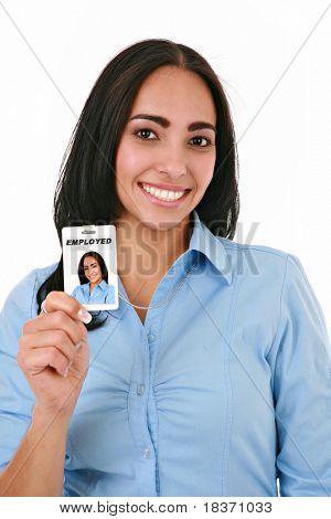 Happy Hispanic Female Businesswoman Holding Employee ID on Isolated Background
