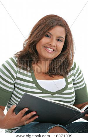African American Female Student Reading Book on Isolated White Background