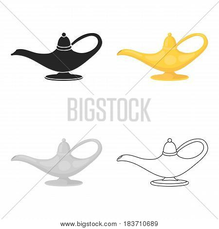 Genie's lamp icon in cartoon style isolated on white background. Black and white magic symbol vector illustration.