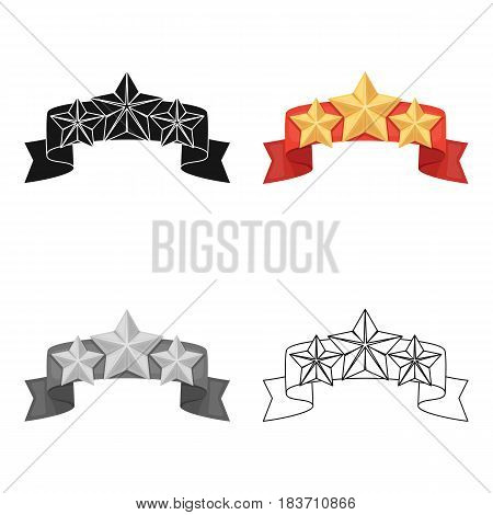 Red ribbon with three stars.Reward a police officer for detention of the criminal.Awards and trophies single icon in cartoon style vector symbol stock web illustration.