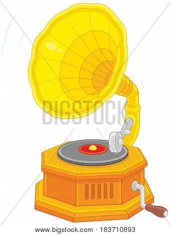 Vector illustration of a retro phonograph with a platter