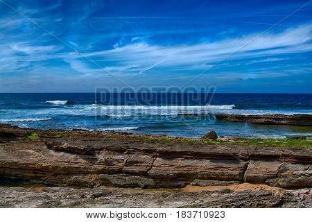 Ericeira Portugal. 13 April 2017.Pedra Branca beach/ Backdoor/ Reef.Pedra Branca beach is Part of the World Surfing Reserve and its right outside Ericeira Village. Ericeira Portugal. photography by Ricardo Rocha.