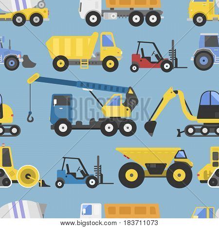 Construction equipment and machinery with trucks crane and bulldozer flat transport yellow abstract isolated vector illustration. Industry seamless pattern scoop transport power build engineering.