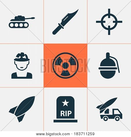 Combat Icons Set. Collection Of Cutter, Missile, Panzer And Other Elements. Also Includes Symbols Such As Hazard, Panzer, Soldier.