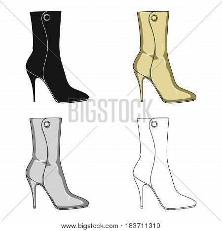 Demi tall womens boots high heel.Different shoes single icon in cartoon style vector symbol stock web illustration.