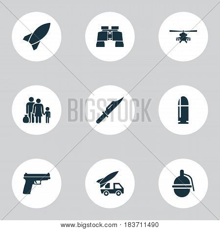 Battle Icons Set. Collection Of Cutter, Glass, Missile And Other Elements. Also Includes Symbols Such As Bullet, Knife, Slug.