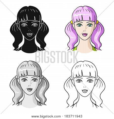 Avatar girl with pink hair.Avatar and face single icon in cartoon style vector symbol stock web illustration.