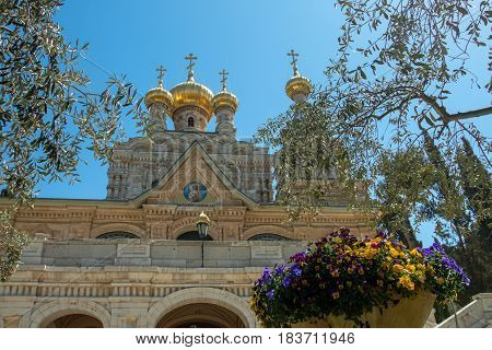 The Church of Mary Magdalene is a Russian Orthodox church located on the Mount of Olives, near the Garden of Gethsemane in Jerusalem