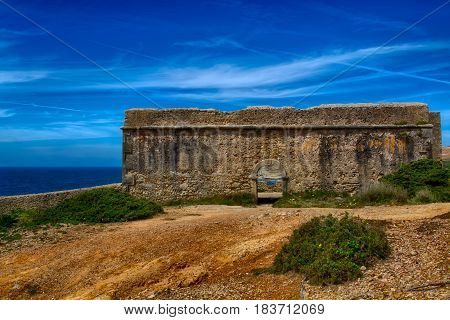 Ericeira Portugal. 13 April 2017.Fort Milreu ancient defensive building in Ribeira de Ilhas Portugal. Ribeira de Ilhas beach is Part of the World Surfing Reserve and its right outside Ericeira Village. Ericeira Portugal. photography by Ricardo Rocha.