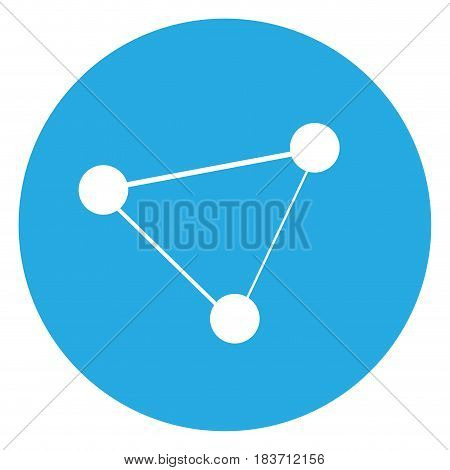 Isolated atom silhouette on a blue button, Vector illustration