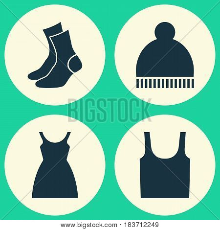 Garment Icons Set. Collection Of Half-Hose, Dress, Beanie And Other Elements. Also Includes Symbols Such As Dress, Sundress, Beanie.