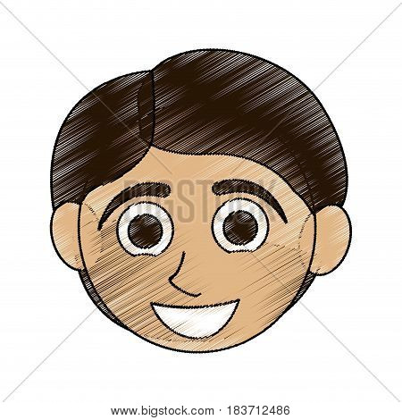 color pencil caricature front face boy with short hair vector illustration