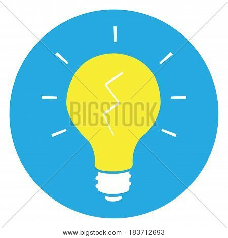 Isolated lightbulb on a blue button, Vector illustration