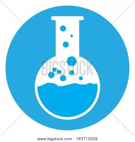Isolated laboratory object on a blue button, Vector illustration
