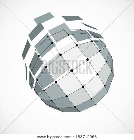 Vector Dimensional Wireframe Low Poly Object, Spherical Gray Facet Shape With Black Grid. Technology