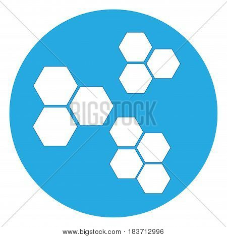 Isolated group of atoms on a blue button, Vector illustration