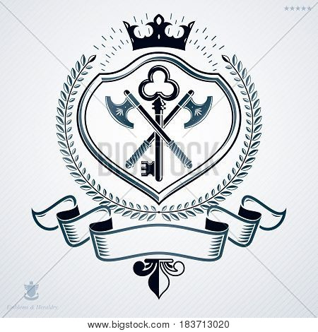 Heraldic Coat Of Arms Made In Retro Design, Decorative Emblem With Royal Crown And Armory