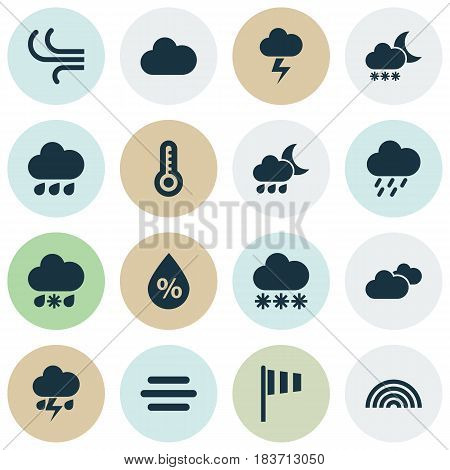 Weather Icons Set. Collection Of Colors, Breeze, Night And Other Elements. Also Includes Symbols Such As Thermometer, Moisture, Cloudy.