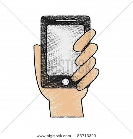color pencil hand holding up a smartphone vector illustration