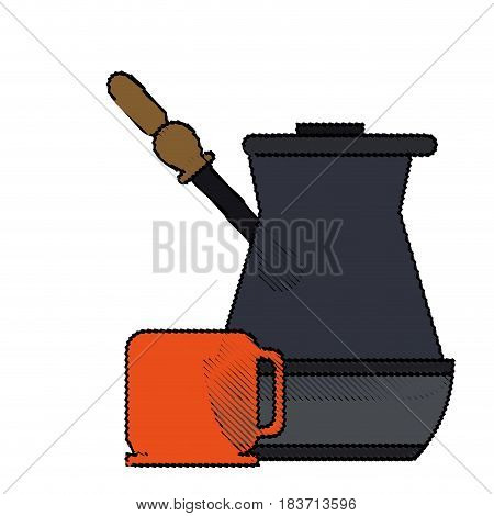 color blurred metallic jar of coffee with handle and porcelain mug vector illustration