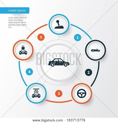 Automobile Icons Set. Collection Of Convertible Model, Stick, Transport Cleaning And Other Elements. Also Includes Symbols Such As Control, Plug, Water.
