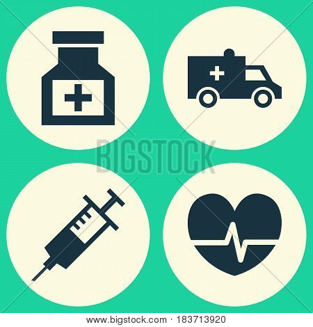 Antibiotic Icons Set. Collection Of Injection, Bus, Rhythm And Other Elements. Also Includes Symbols Such As Capsule, Syringe, Drug.
