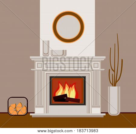 Classic fireplace with pilasters. The fragment of the interior living room