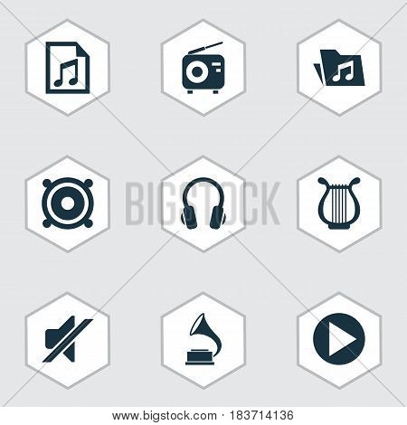 Music Icons Set. Collection Of Lyre, Tuner, Silence And Other Elements. Also Includes Symbols Such As Note, Speaker, Silent.