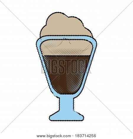 color blurred stripe of glass cup of cappuccino with cream vector illustration