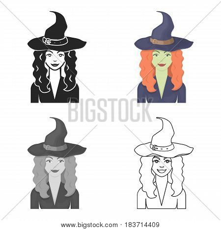 Witch icon in cartoon style isolated on white background. Black and white magic symbol vector illustration.