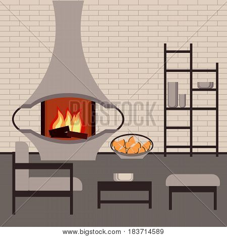 Fragment of the interior living room in loft style with modern fireplace and furniture