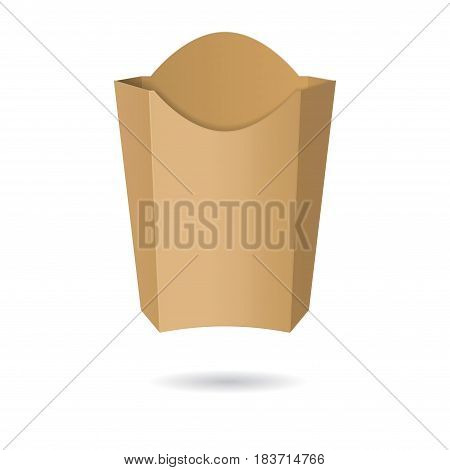 Big empty brown package with shadow isolated on white background