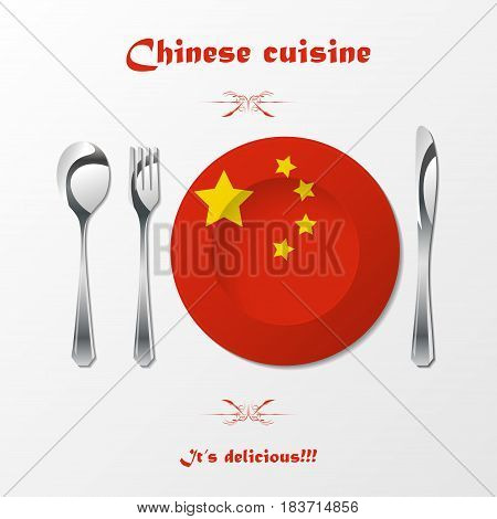 Kitchen fork, kniefe and spoon with plate and chinese flag