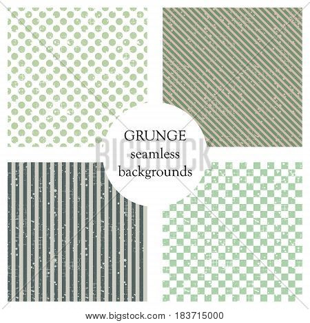 Set Of Seamless Vector Patterns. Geometric Backgrounds With Dots, Squares, Diagonal, Vertical Lines.
