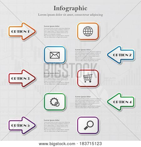 Infographic background with five arrows and squares and sample text