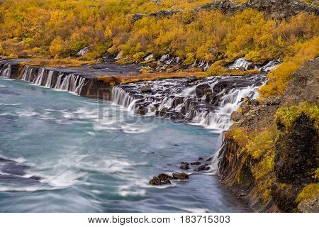 Water going down on Barnafoss waterfall in Iceland