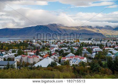 View of Reykjavik in Iceland in northern Europe