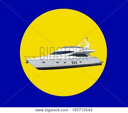 luxury yacht. modern motor long big black and white yacht isolated on white background. Boat on the background