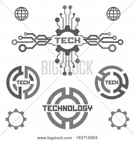 Set of technology elements. Tech logo icon.