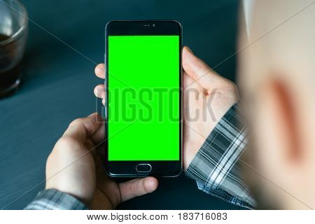 Business man using smart phone with green screen for internet and email. Sequence