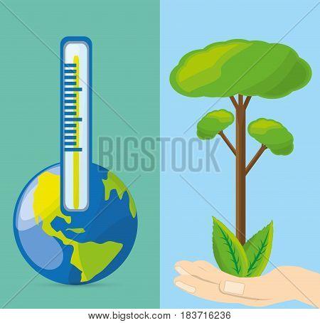 temperature measurement in the ecosystem, vector illustration