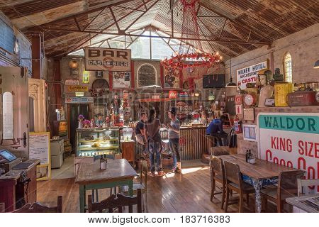 BARRYDALE SOUTH AFRICA - MARCH 25 2017: A well known restaurant the Diesel and Creme in Barrydale a small town on the scenic Route 62 in the Western Cape Province