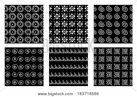 Set Of Seamless Vector Patterns. Black And White Geometrical Endless Backgrounds With Hand Drawn Geo