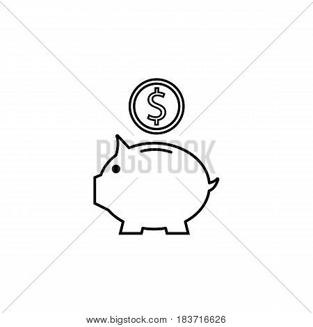 Piggy box line icon, finance and business, money box with coin vector graphics, a linear pattern on a white background, eps 10.